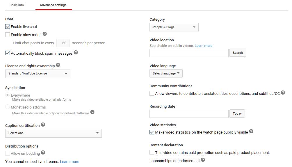 The Advanced settings tab
