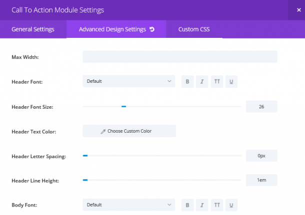 The Call To Action module Advanced Design Settings tab