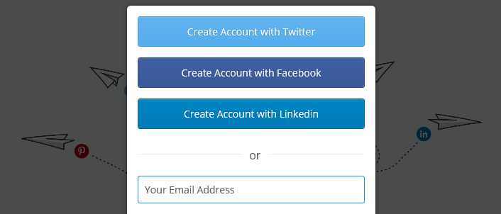 Buffer's signup options