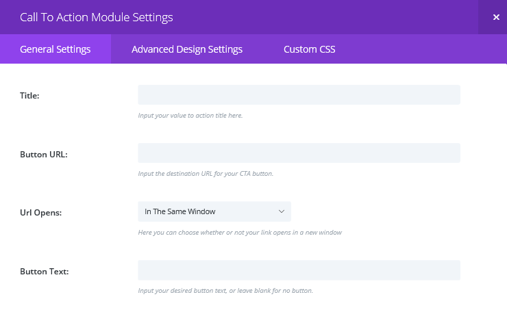 The Call To Action Module Settings screen