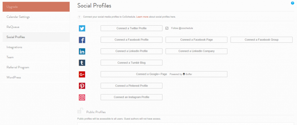 The CoSchedule Social Profiles settings screen