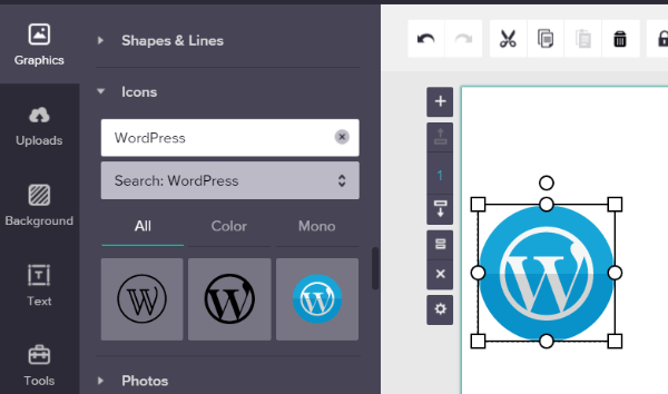 For Example To Add A WordPress Logo Youd Go Graphics Icons And Search Then You Just Need Drag The Icon Over Your Infographic