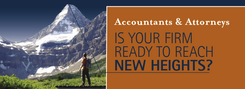 "An image of a mountain with the headline ""Is Your Firm Ready to Reach New Heights?"""