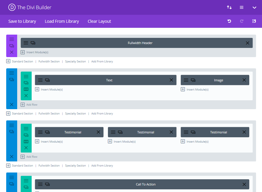 A sample Divi page layout