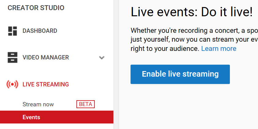 The Events tab and Enable live streaming button