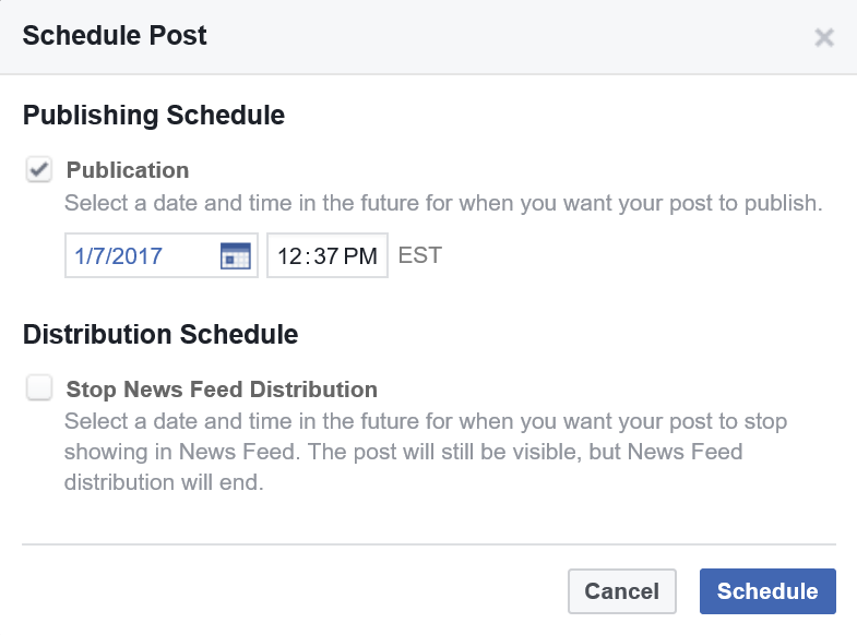Facebook's Schedule Post screen