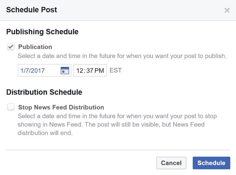 Facebook's Schedule Post screen