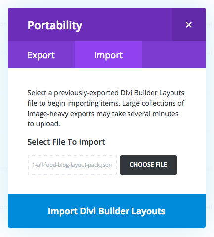 food blog category layout divi library portability modal