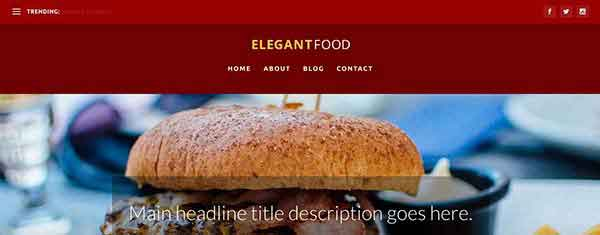 Elegant Food: A Free Food Blog Homepage Category Layout for Extra
