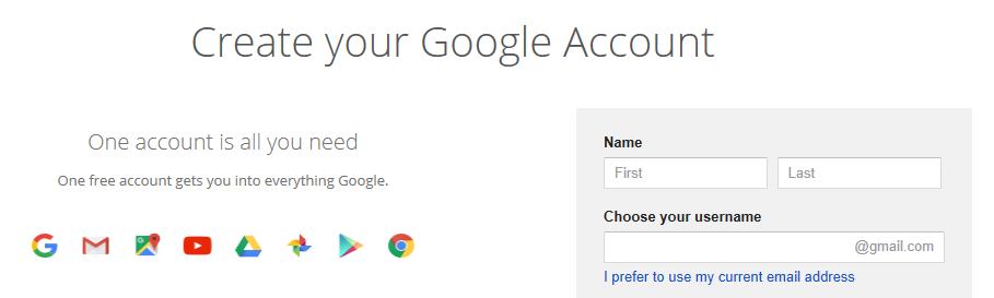 The Google SignUp page