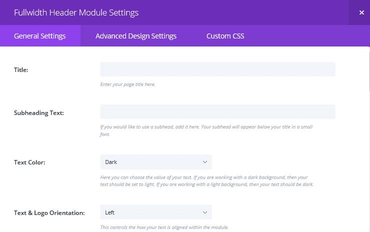 The Fullwidth Header Module Settings screen
