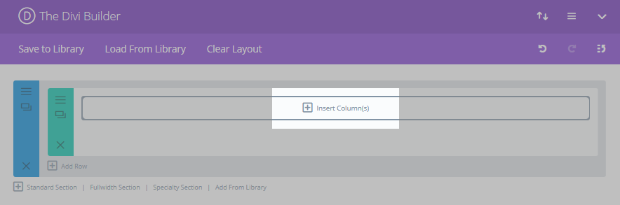 The Divi Builder initial screen with the Insert Column(s) button highlighted