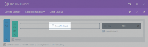 The Divi Builder with the Insert Module(s) button highlighted