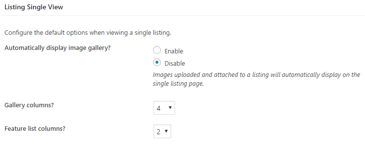 The options for individual listings.