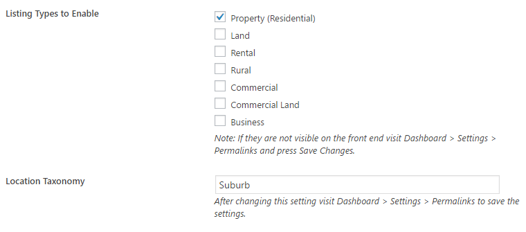 The types of listings available with the plugin.