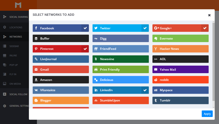 The social networks selection popup