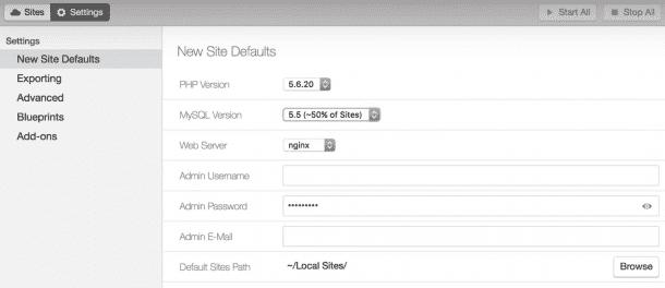 Local by Flywheel's default WordPress settings.