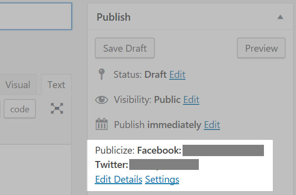 The Publish section of the post editor screen with the Publicize section highlighted