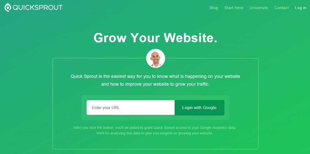 The Quicksprout homepage