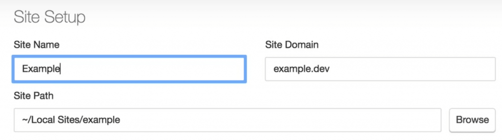 The options to modify your site's name, domain, and directory.
