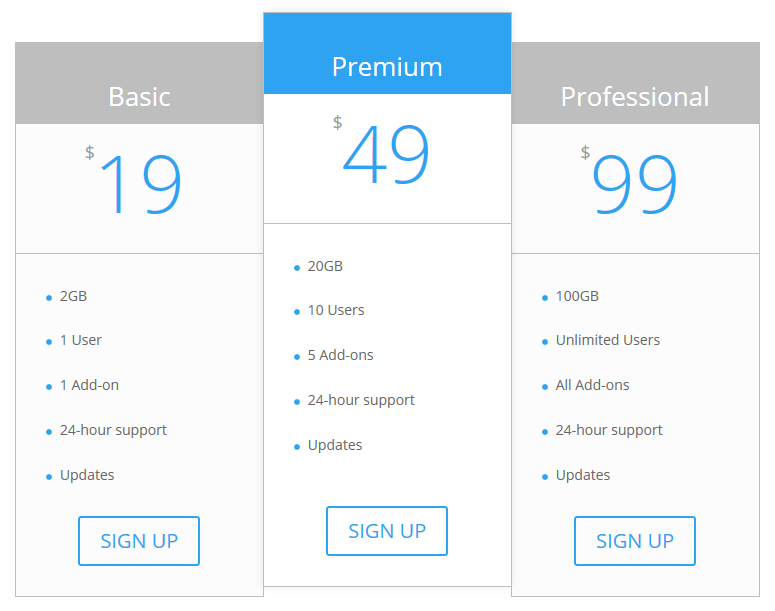 The pricing table with the middle tier highlighted