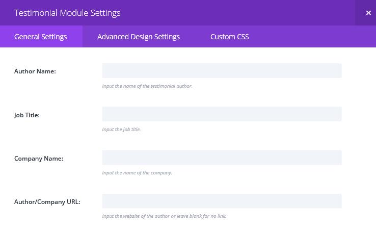 The Testimonial Module Settings screen