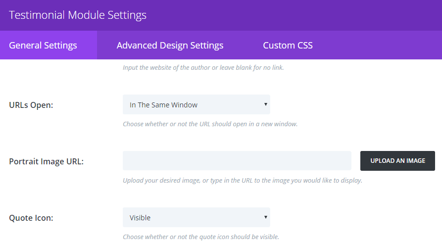 Additional settings for the Divi testimonial module.