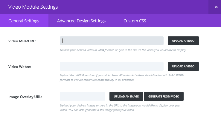 The Divi Video Module General Settings tab
