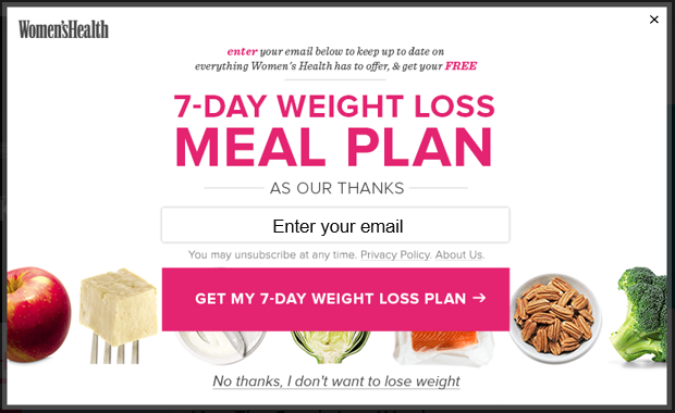 A Women's Health email subscription popup