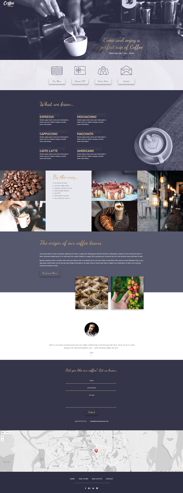 Coffee house a free divi layout pack for coffee shops and - Elegant theme divi ...