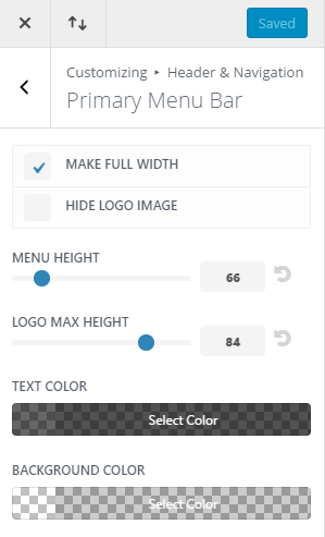 Customize Primary Menu settings Coffee House layout