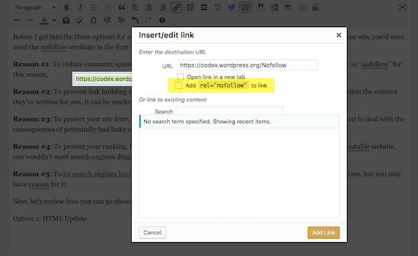 Insert/edit link box