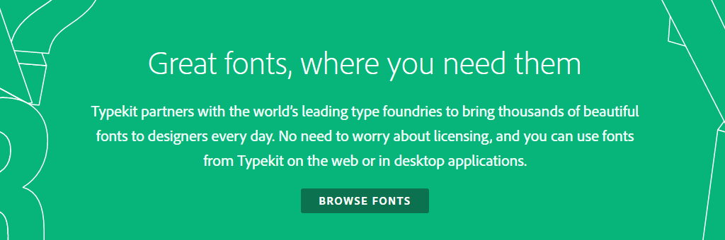 The Adobe Typekit homepage.