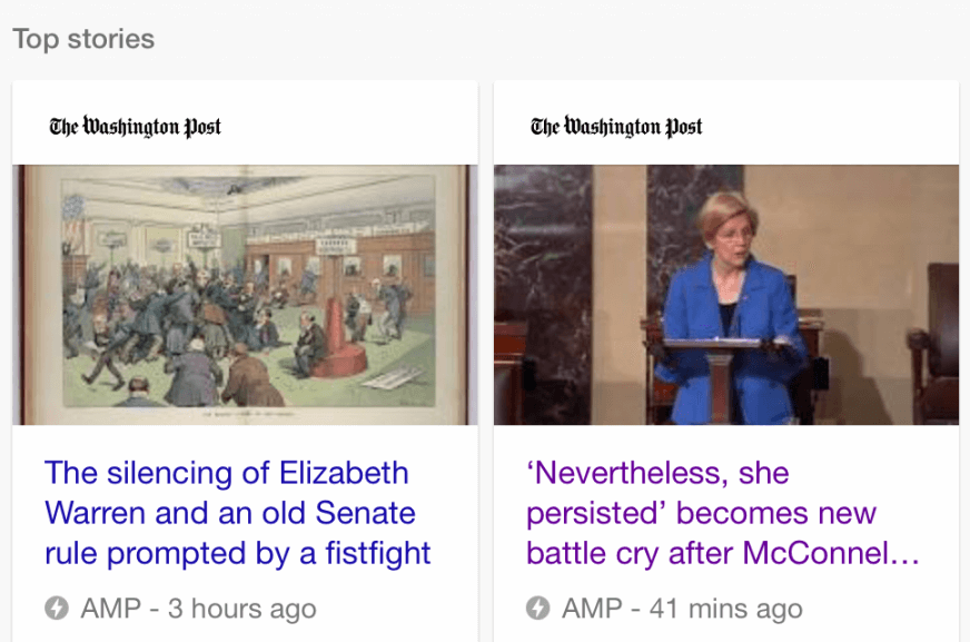 A Google Top stoires carousel showing several Washington Post articles with the AMP symbol