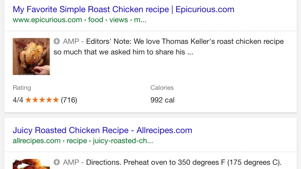 Organic search results bearing the AMP symbol