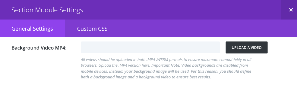 The background video field within the section module settings.