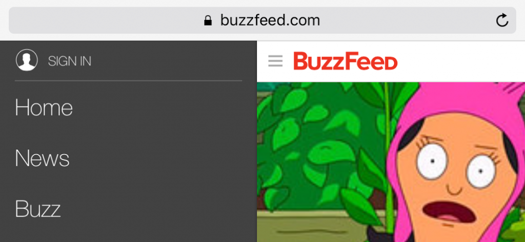 The BuzzFeed homepage showing part of the dropdown menu