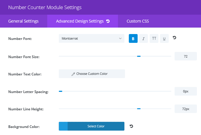 The Advanced Design Settings tab