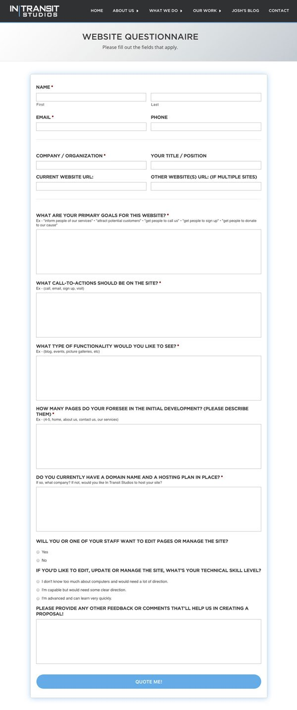 new client questionnaire template