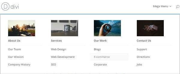 mega menu with images