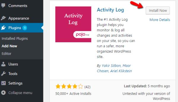 install activity log