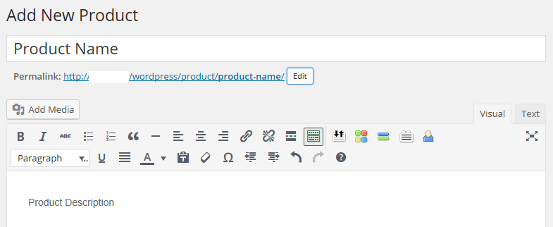 The product editor screen