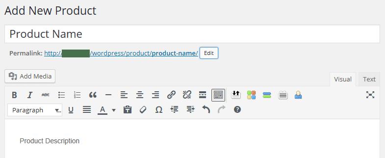 L'écran de l'éditeur de produit