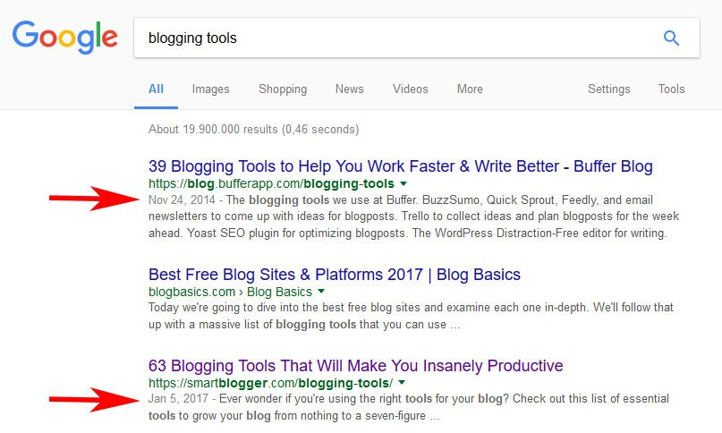 publishing dates in Google search results