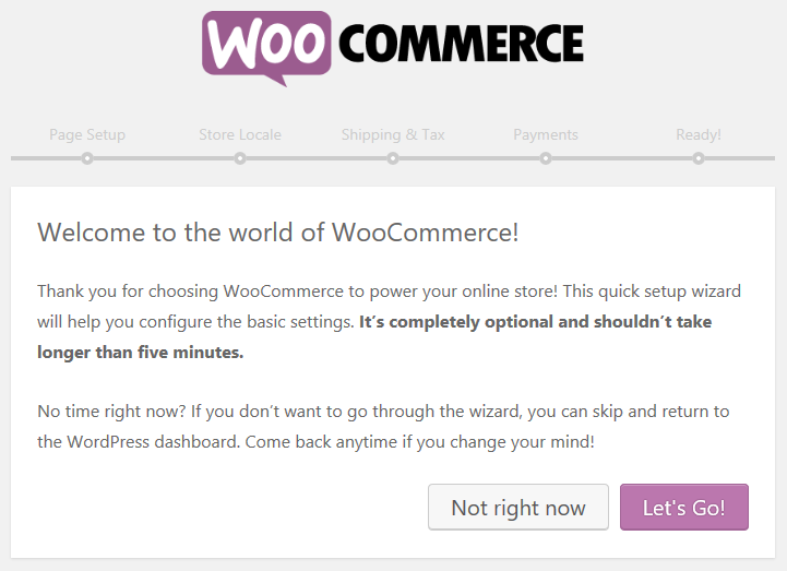 The first page of the WooCommerce setup wizard