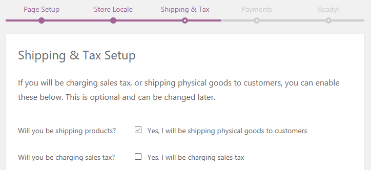 The Shipping & Tax page