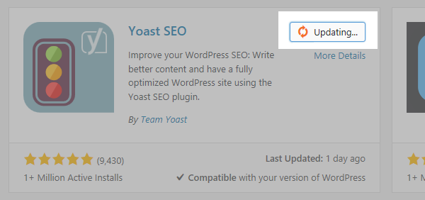 A screenshot of the Yoast SEO plugin updating with the update button highlighted
