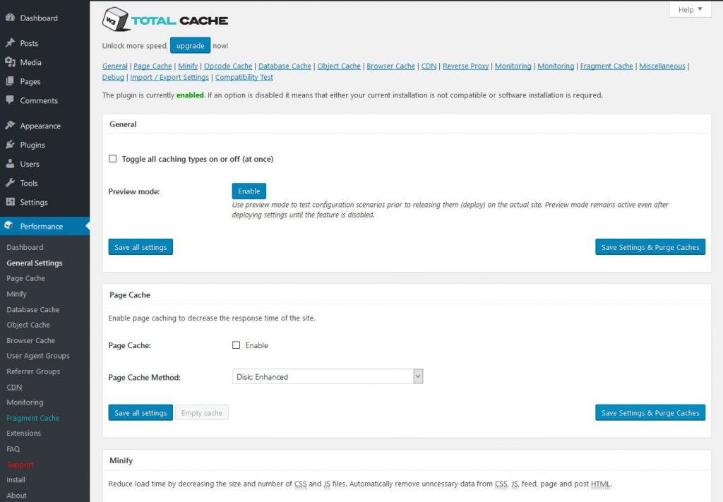 w3 total cache vs wp super cache w3tc settings page