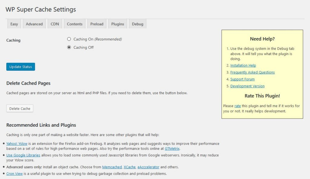 wp super cache settings page