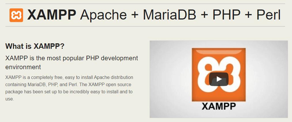 The XAMPP homepage.